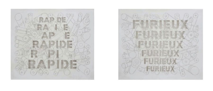 Miguel Angel Rios(b. 1943, Argentina: lives and works in New York/Mexico City). Rapide & Furieux. 2012. Graphite on paper and cut out. 23 5/8 x 19 11/16 in. each / 60 x 50 cm. each.