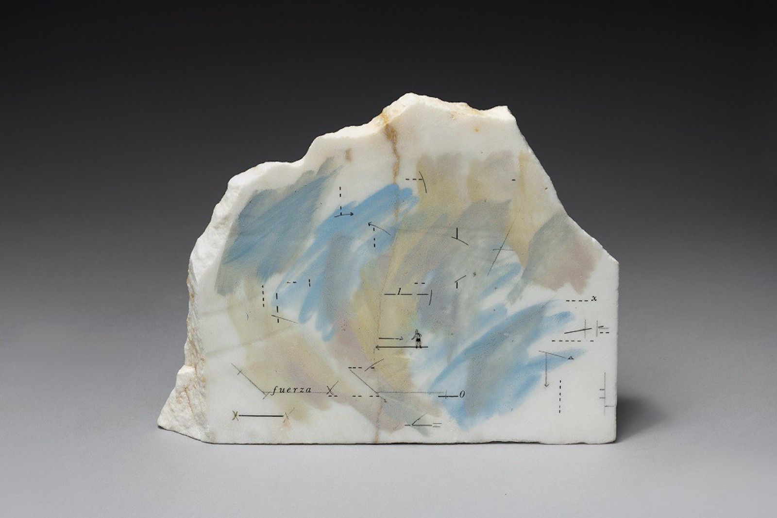 Untitled, 1980, Drawing and paint on marble, 7 7/16 x 13 3/4 x 1 15/16 in. (19 x 35 x 5 cm.)