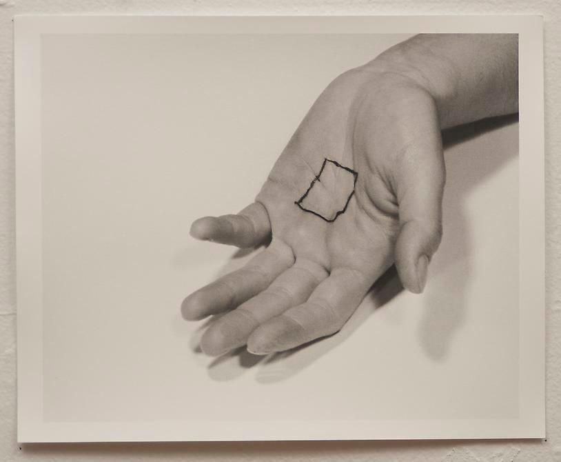 Liliana Porter, The Square V, 1973. Gelatin silver photograph, 8 1/2 in. x 11 in.