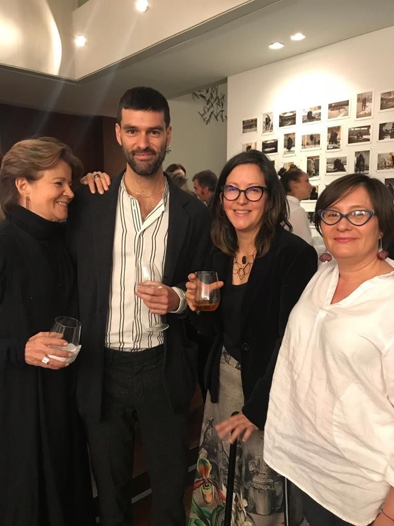 Clemencia Echeverri at the opening of her exhibition in Colombia.