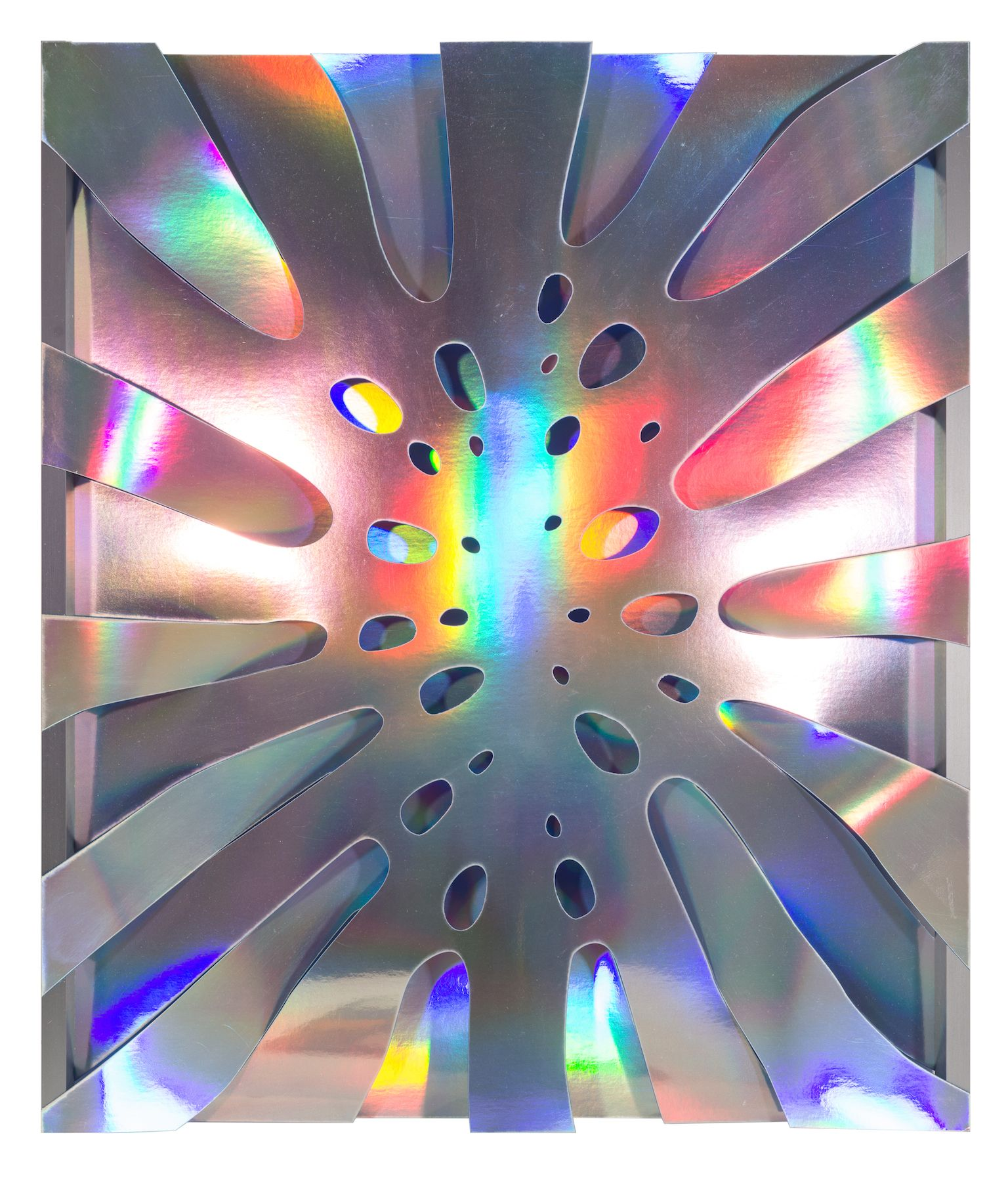 Thomas Glassford.(b. 1963, USA/Mexico.Untitled (Blue), 2014.Holographic paper and anodized aluminum 21 17/32 x 18 1/2 x 1 in. (54.7 x 47 x 2.5 cm.)