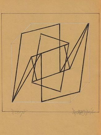 Hugo De Marziani, Untitled, 1960. Ink and graphite on paper, 20 x 20 cm.