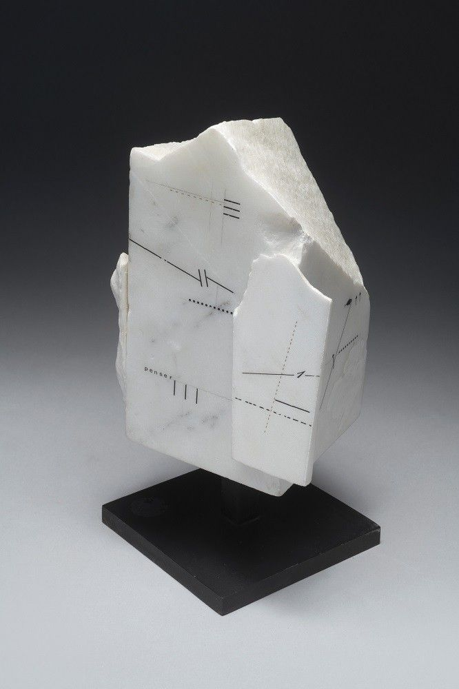 Untitled, 1986, Drawing on marble, 6 1/4 x 3 11/16 x 4 11/16 in. (16 x 9.5 x 12 cm.)