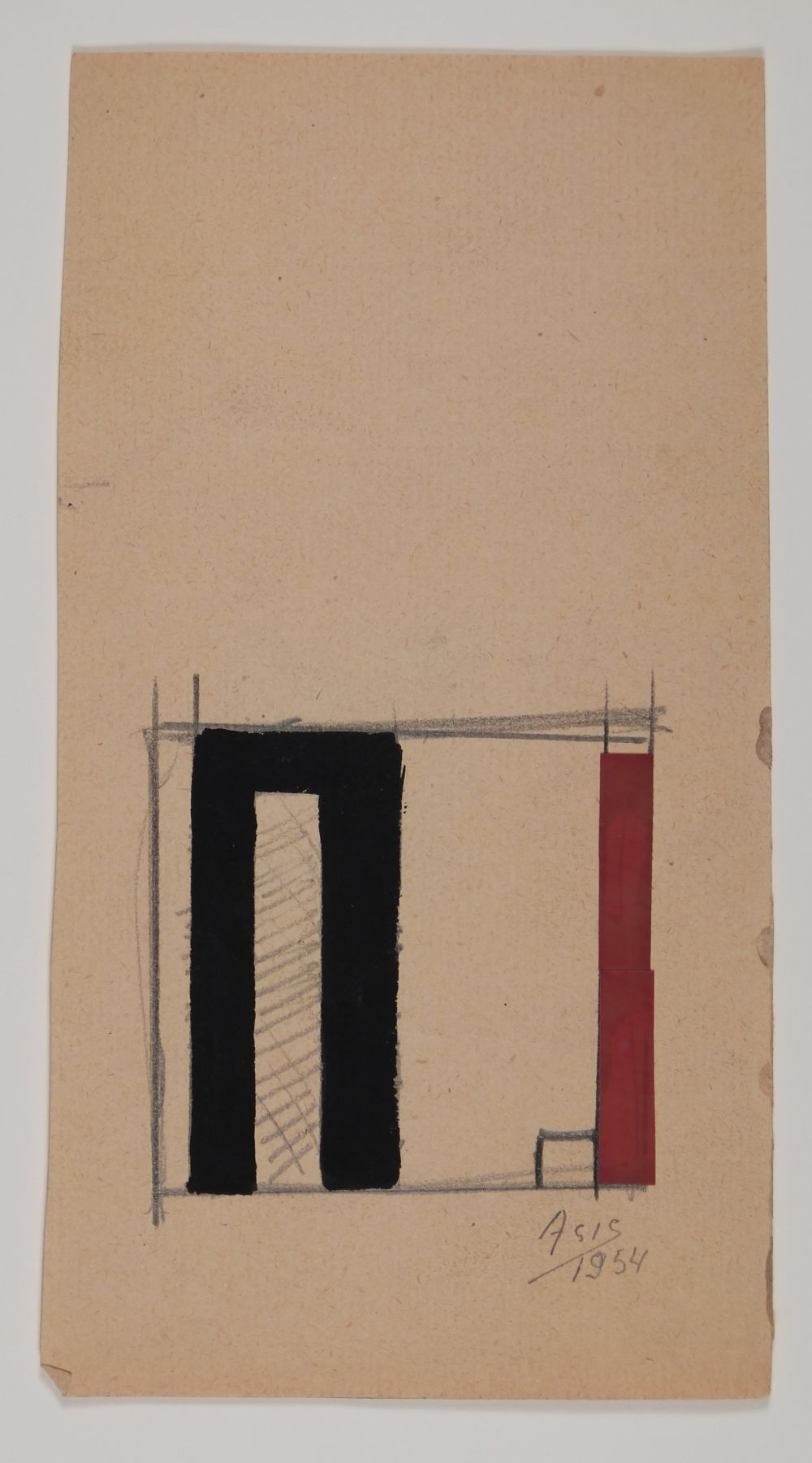 Antonio Asis, Untitled, 1954,Gouache and graphite on paper,8 1/4 x 4 3/8 in. (21 x 11.2 cm.)