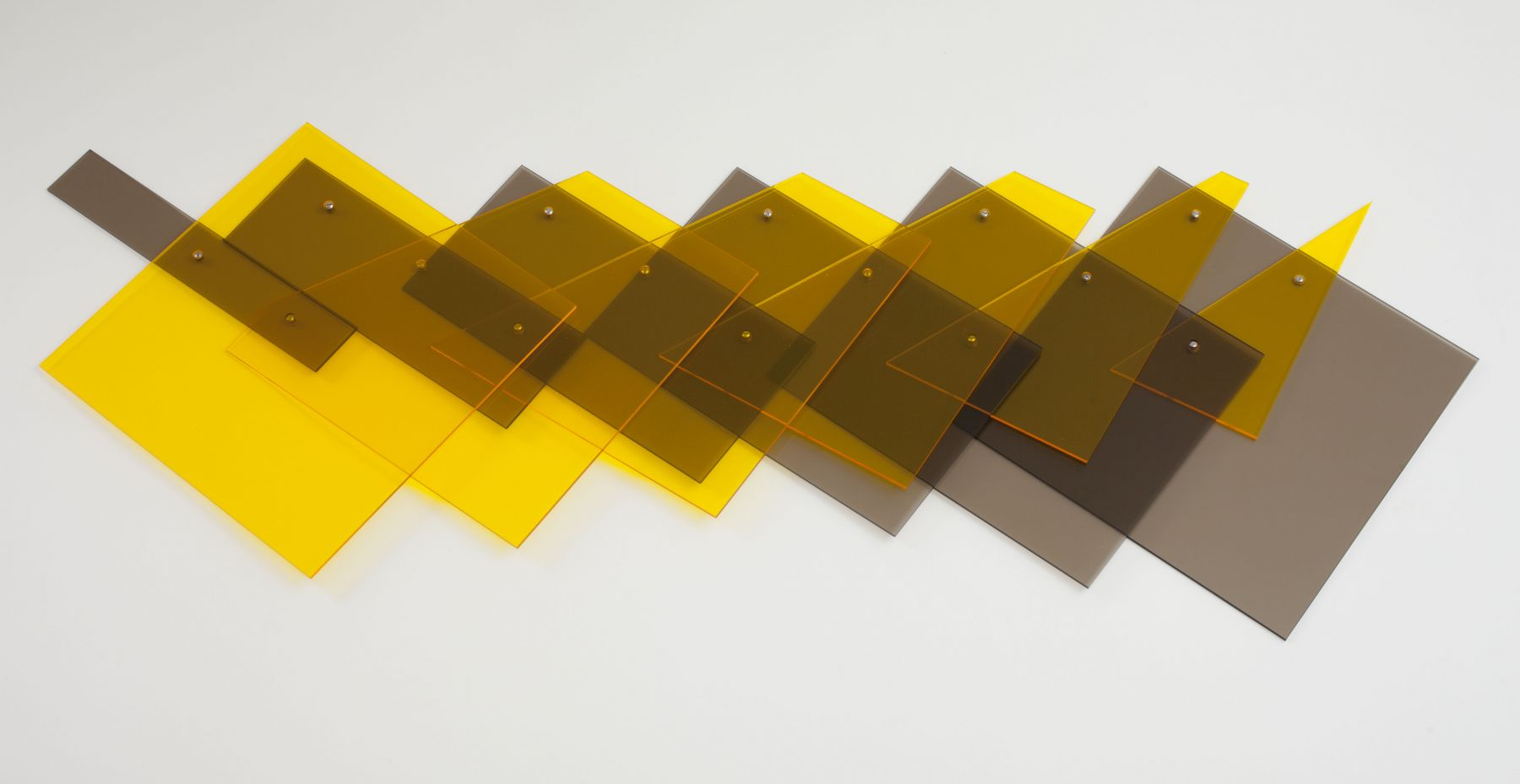 Marta Chilindrón, Sliding Square, 2015. Acrylic. 25½ x 71¼ in. (variable dimensions).