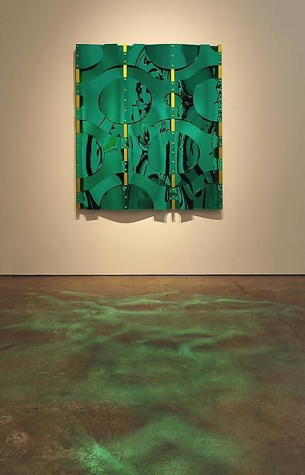 """Thomas Glassford, Variegated Green Cell, 2011, Mirrored Plexiglas and anodized aluminum, 59"""" x 46"""" x 2 3/4"""""""