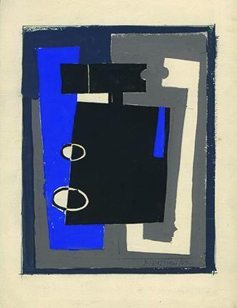 Hugo De Marziani, Untitled, 1958. Tempera on paper, 21 x 16 cm.