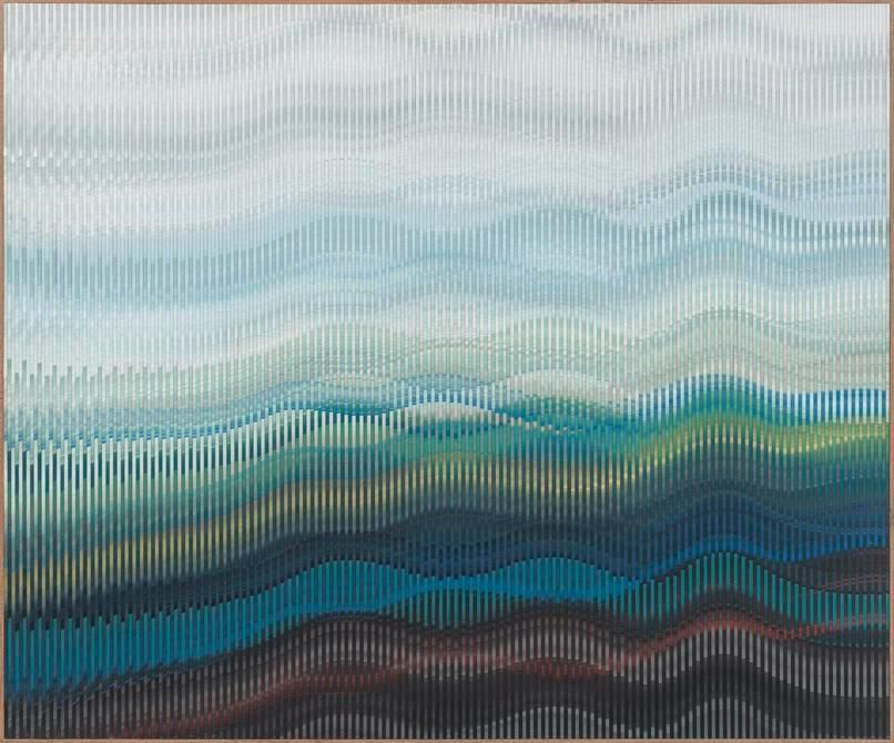 Abraham Palatnik, W-383, 2012. Acrylic on wood, 44 3/8 x 53 1/8 in. / 112.7 x 135 cm.