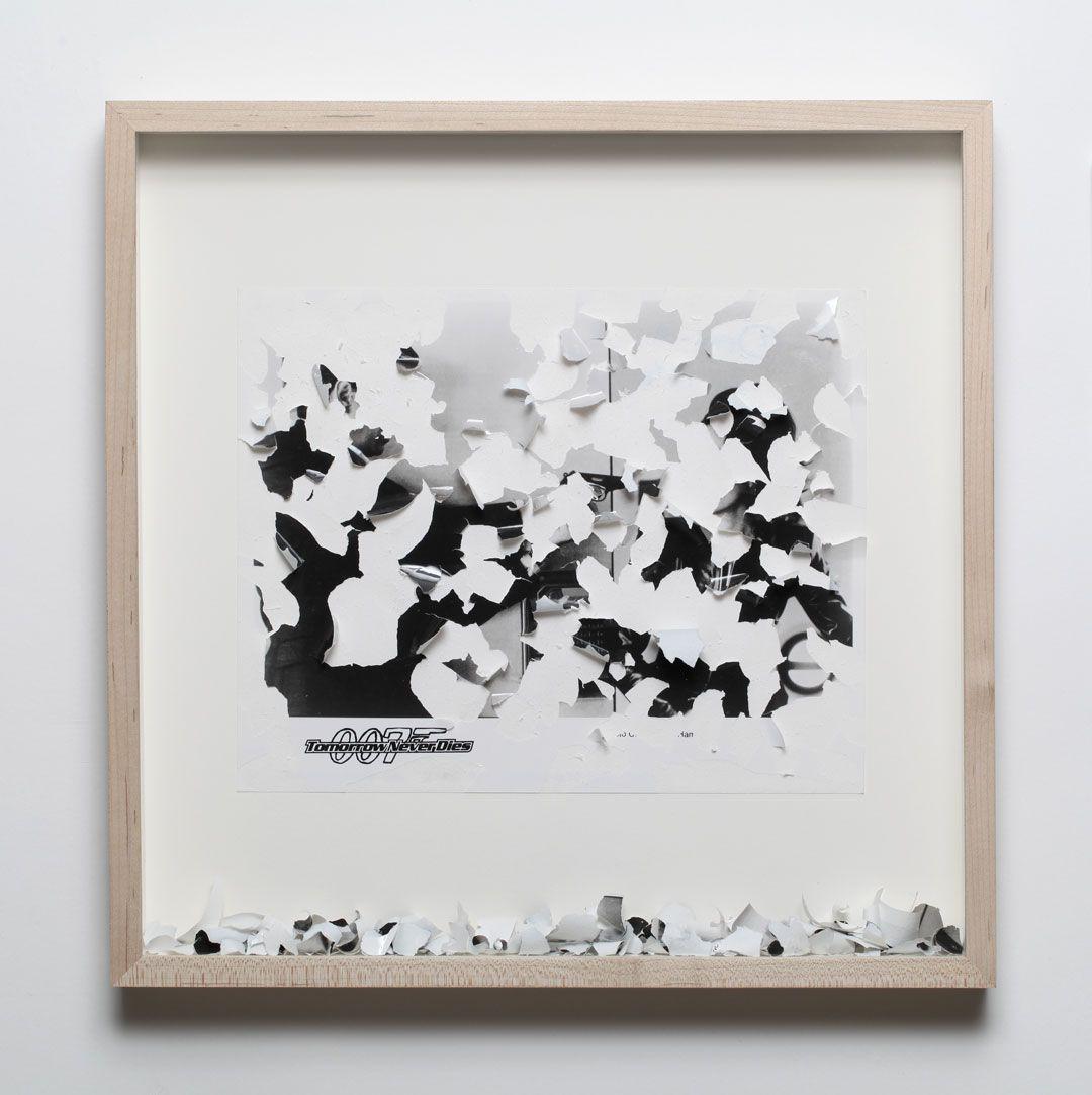 Gabriel de la Mora(b. 1968, Mexico). Tomorrow never dies. 2012. Scratched photograph (1997). 13 7/8 x 13 7/8 x 1 3/4 in. / 35.2 x 35.2 x 4.5 cm.
