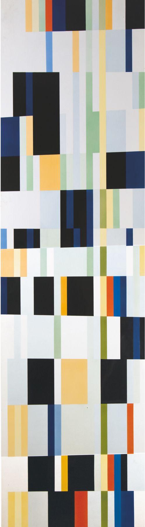 Alejandro Otero, Tablón 13, Bonjour M. Cezanne [Plank 13, Good Morning Cezanne], 1987. Industrial enamel on wood, 78 11/16 x 21 5/8 in. (200 x 55 cm.)