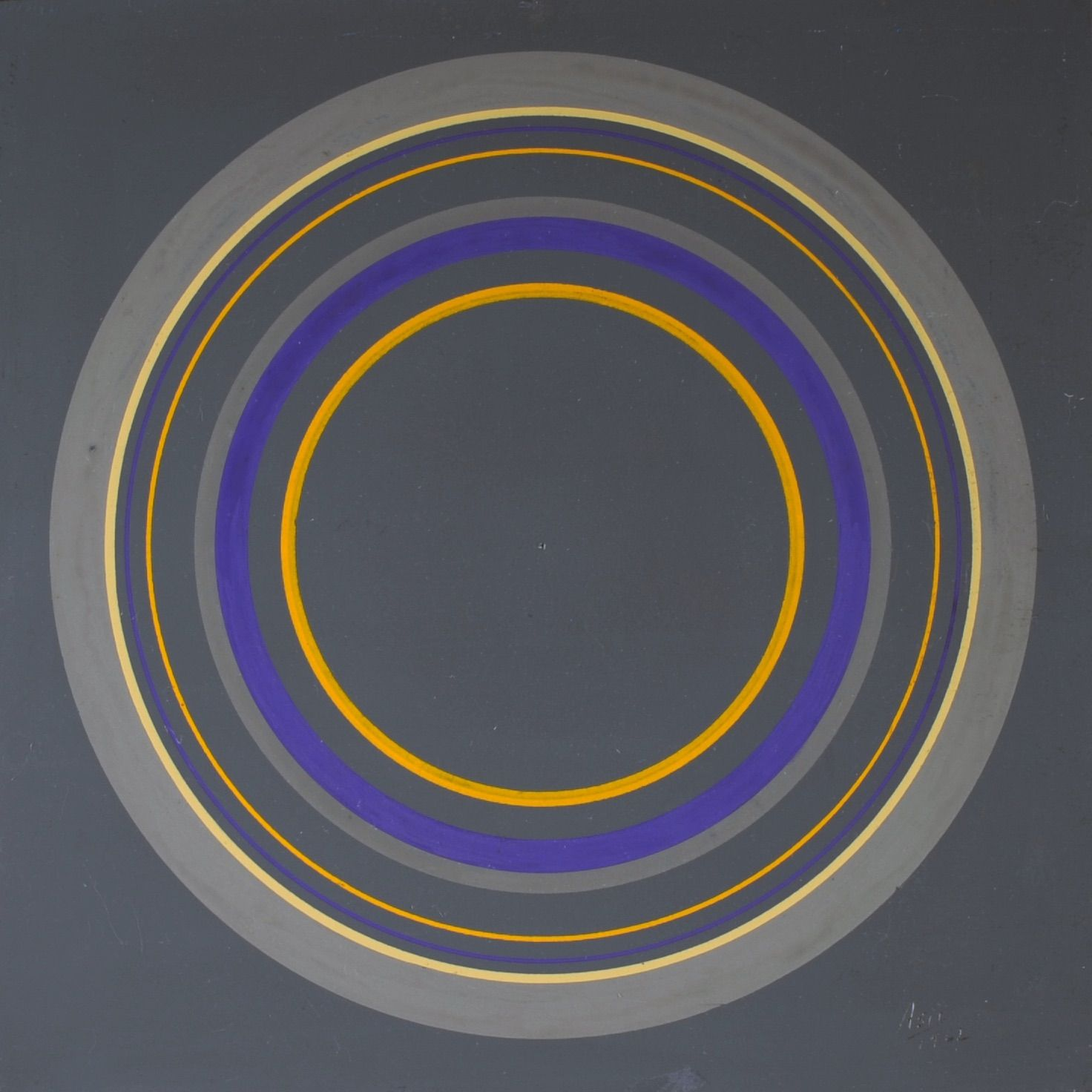 Antonio Asis,Untitled from the series Cercles Concentriques, 1962, Gouache on cardboard,7 1/2 x 7 1/2 in. (19.1 x 19 cm.)