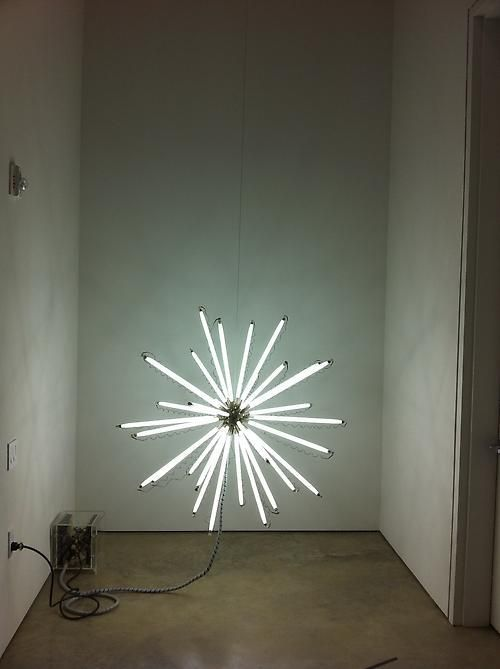 Thomas Glassford, Aster 125T5/4100 (black), 2001/2007. Fluorescent light, nickel over brass, electrical hardware, 49 3/8 in. x 49 3/8 in. x 49 3/8 in.