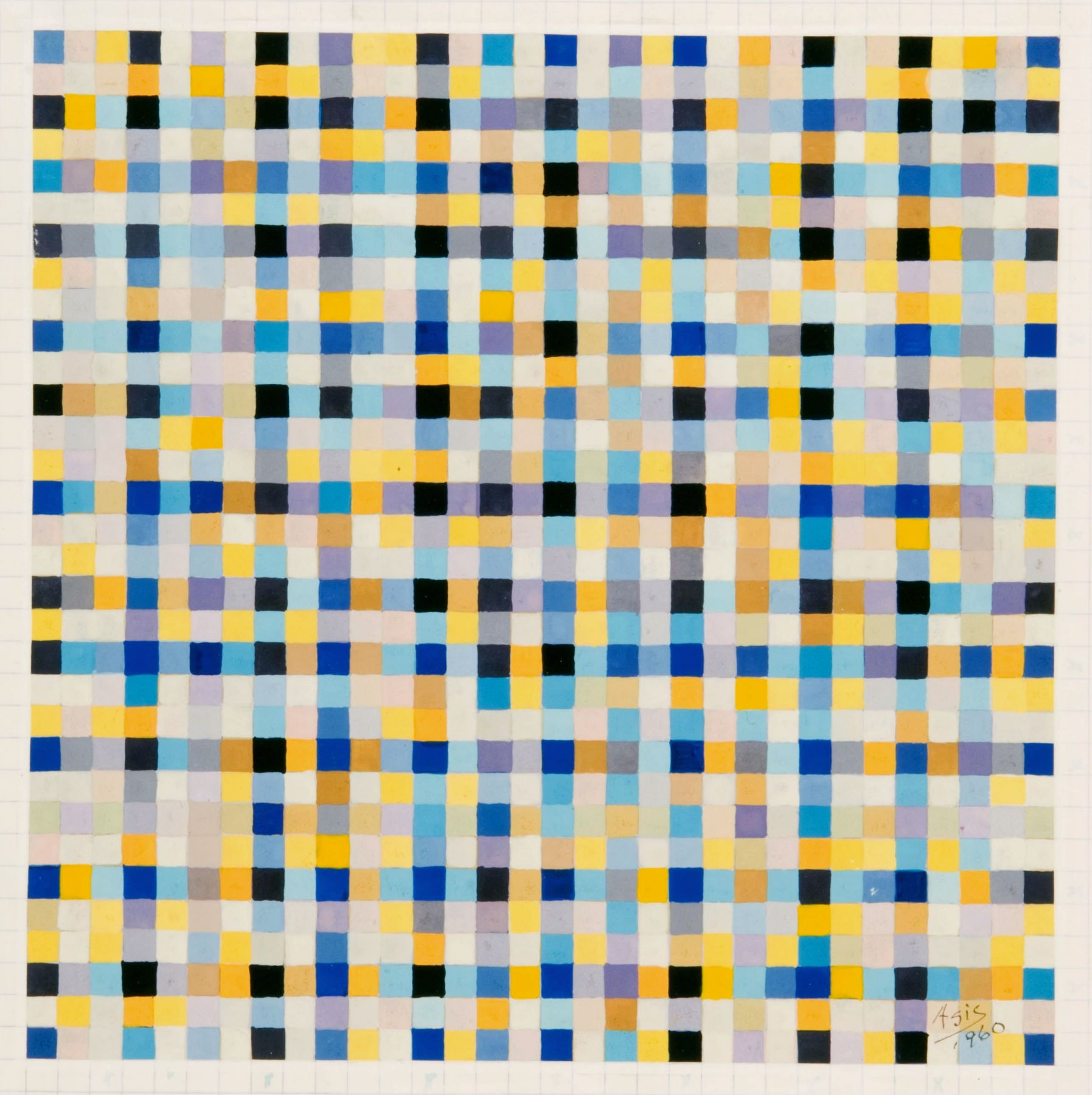 Antonio Asis,Untitled from the series Chromatisme Quadrillé Polychrome, 1960, Gouache on paper,6 1/4 x 6 3/16 in. (15.9 x 15.8 cm.)