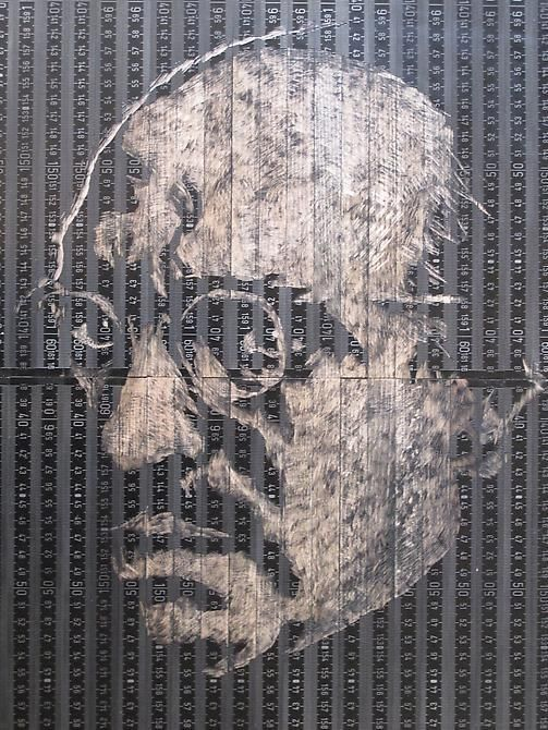 """Pedro Tyler, Mark Rothko, 2012, Bas-relief, wooden rulers, 16.9"""" x 19.7"""""""