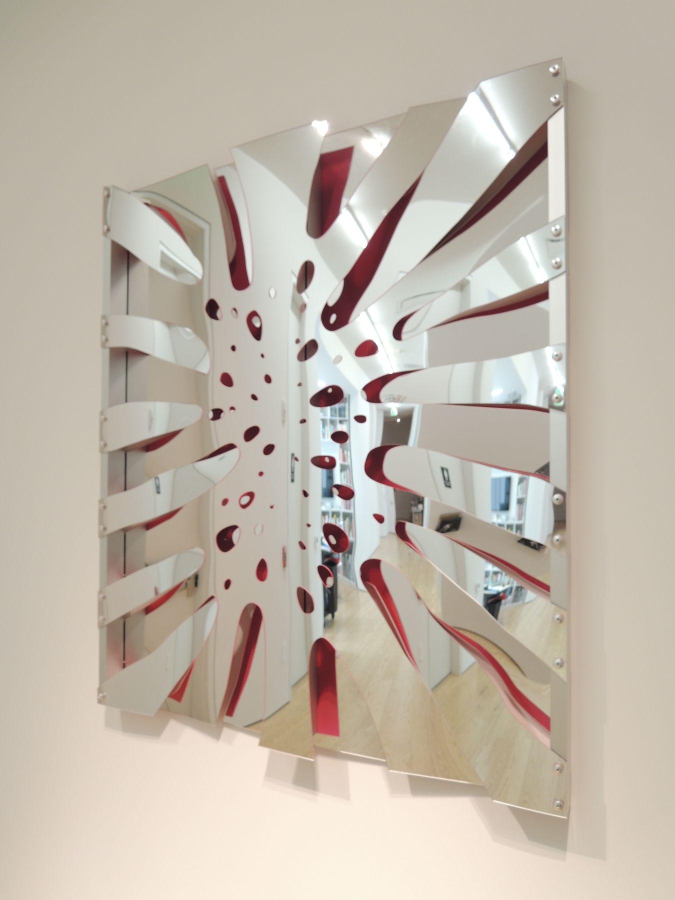 Thomas Glassford.(b. 1963, USA/Mexico).Untitled, 2014.Mirrored Plexiglas and anondized aluminum 48 1/32 x 41 x 2 11/32 in. (122 x 104.1 x 6 cm.)