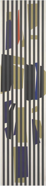 Alejandro Otero, Coloritmo 8 [Colorhythm 8], 1956. Industrial enamel on wood, 17 5/16 x 57 1/4 in. (44 x 145.5 cm.)