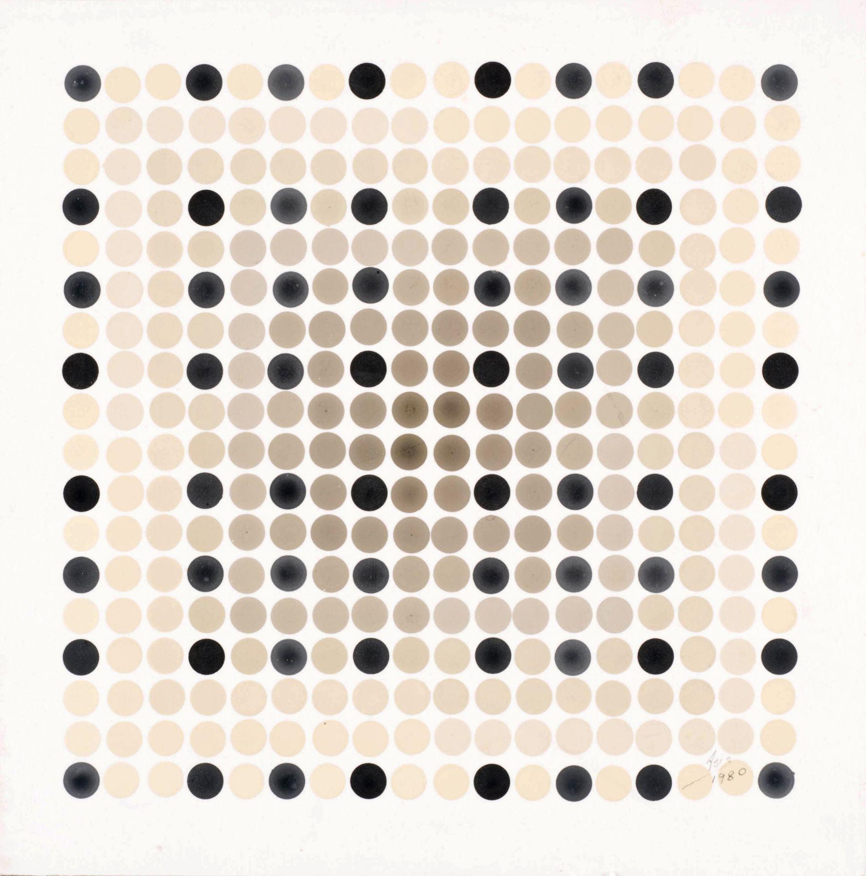 Antonio Asis,Chromatisme en noir etgrisNo. 1251, 1980. 8 1/4 in. x 8 1/4 in.