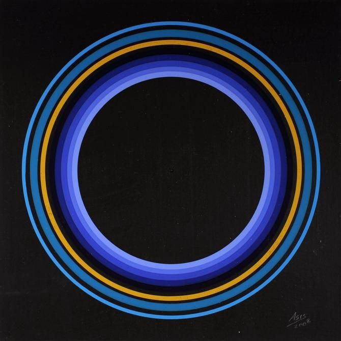Antonio Asis,Untitled from the seriesCerclesConcentriques,2008. Gouache on cardboard, 8 3/8 x 8 3/8 in.