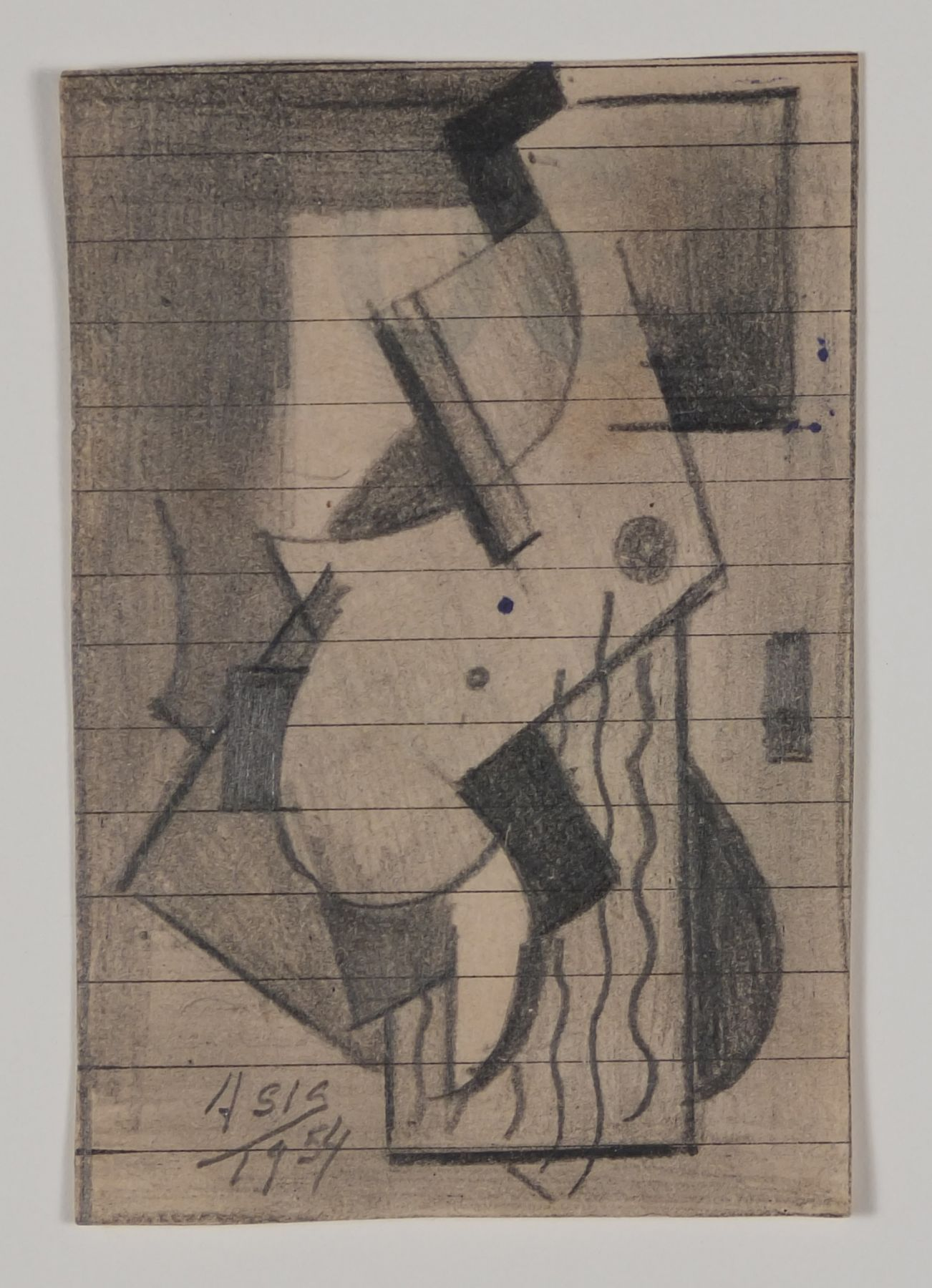 Antonio Asis, Untitled, 1954,Graphite on paper,3 3/8 x 2 1/16 in. (8.6 x 5.3 cm.)