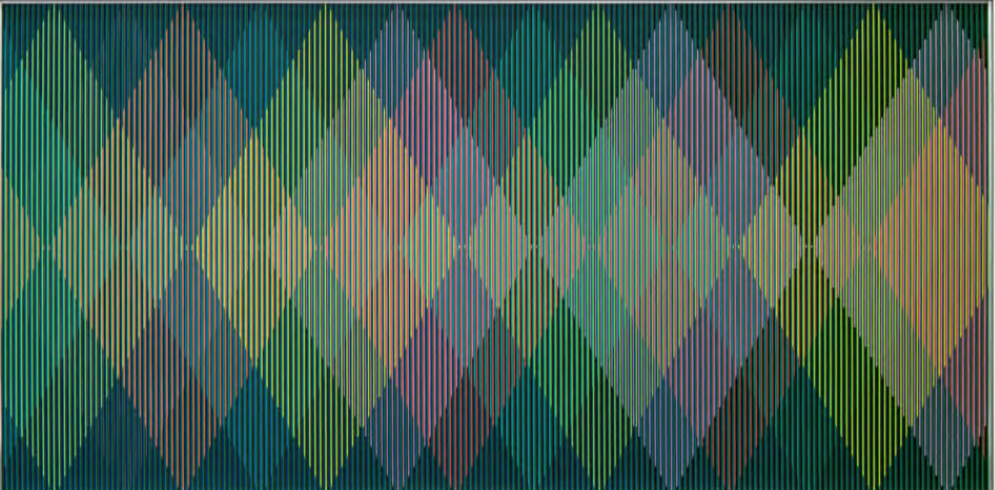 Carlos Cruz-Diez, Physichromie Panam 157, 2014. Chromography on aluminum, 39 5/16 x 78 11/16 in.