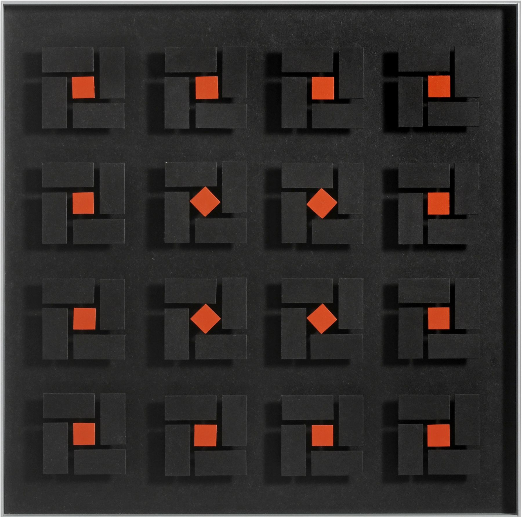 Luis Tomasello, Lumière noire No. 980, 2011, Acrylic on wood, 24 x 24 x 2 1/8 in. (61 x 61 x 5.4 cm.)