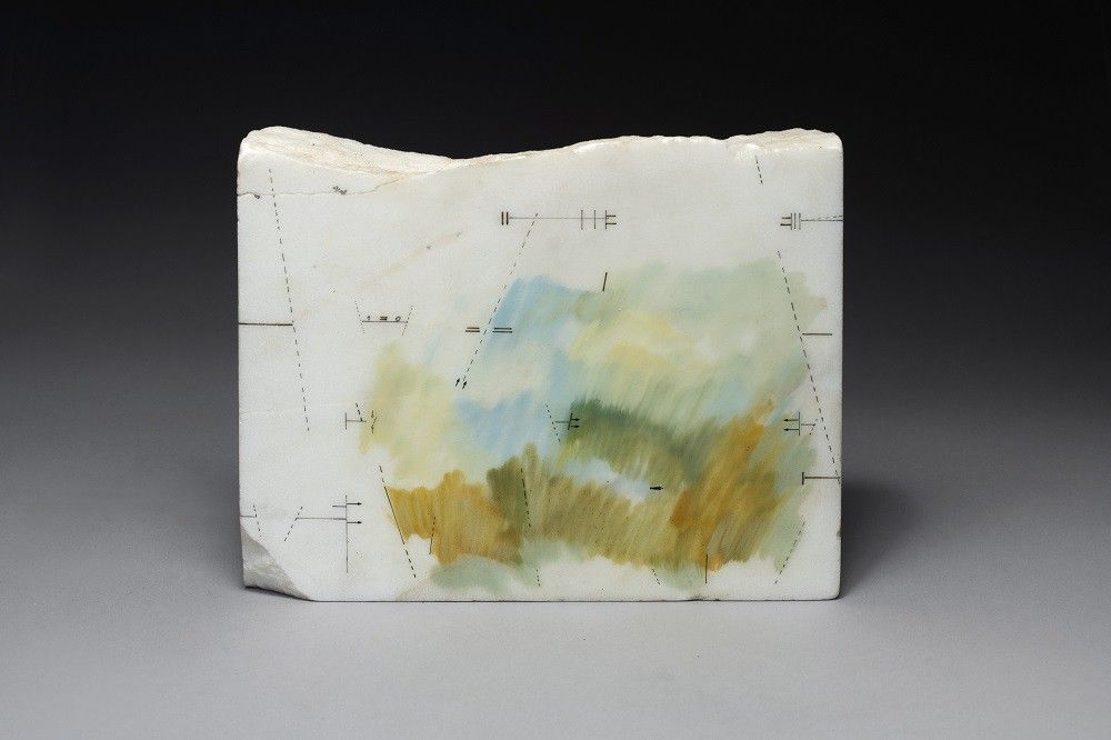 Untitled, 1988, Drawing and paint on marble, 7 7/16 x 9 7/16 x 1 9/16 in. (19 x 24 x 4 cm.)