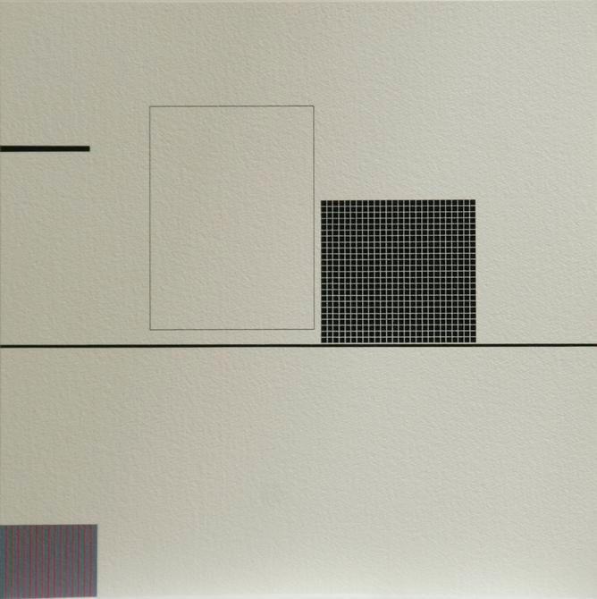 Antonio Lizárraga, Desenho nº 448 - Recipiente para um telefone melancólico, 1998. India Ink and pigments on Arches paper, 15 3/4 x 15 3/4 in.