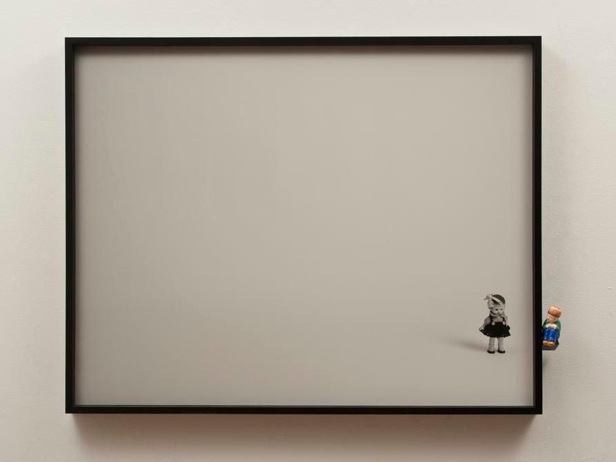 Liliana Porter. Dialogue with salt shaker. 2012. Digital duraflex, wooden shelf and object, 26 x 33 x3 in.