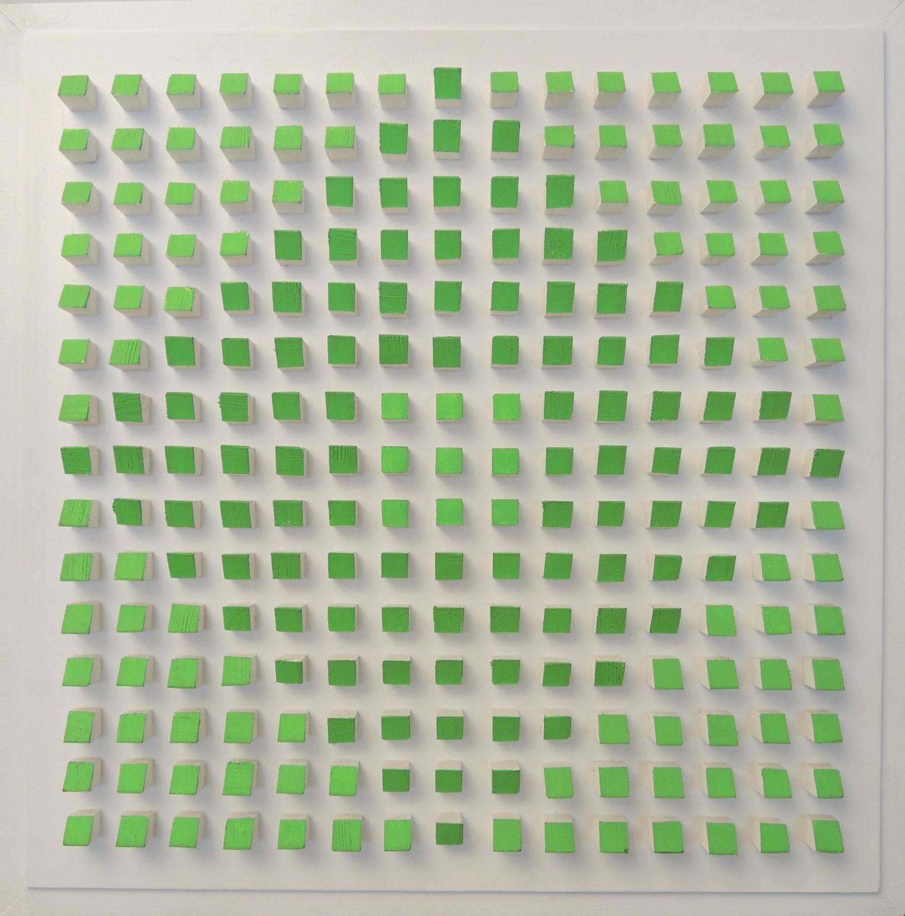 Luis Tomasello, Object Plastique Nº 879, 2008. Acrylic on wood, 17 3/4 x 17 1/4 x 2 1/8 in.