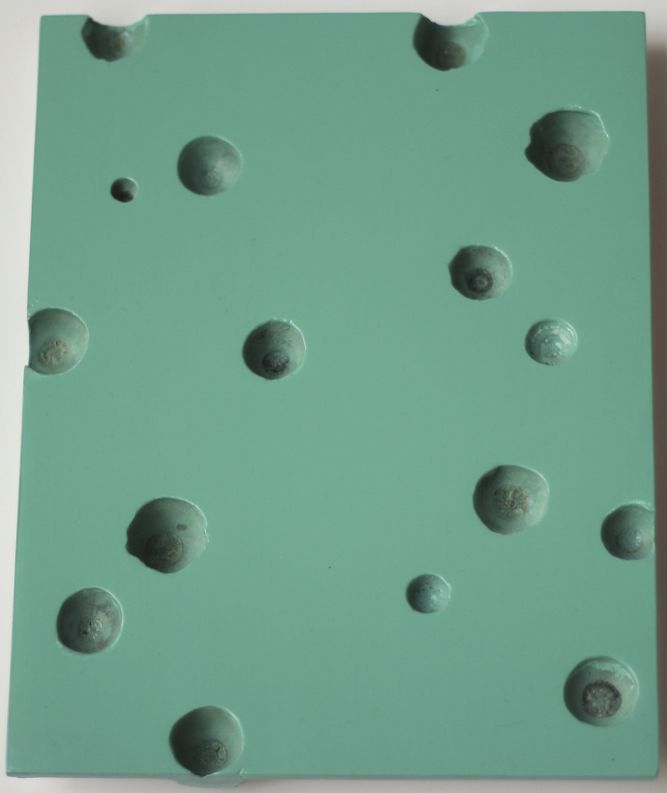 Turquoise Open Cluster, 2018. Lacquer, 7 21/32 x 9 27/32 in. (19.5 x 25 cm.)