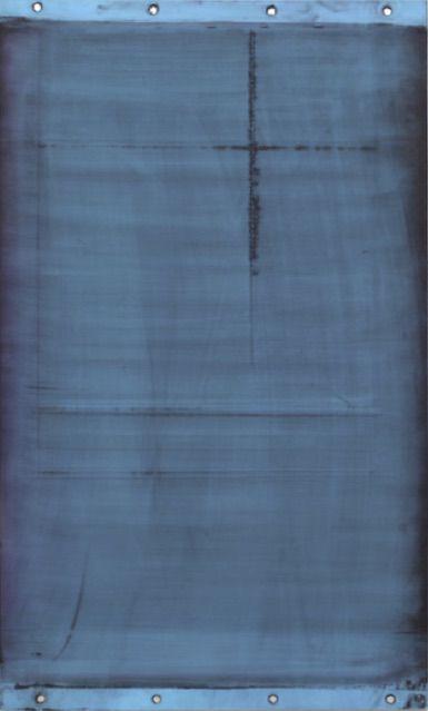Gabriel de la Mora(b. 1968, Mexico). MCI / 1 - VI f. 2013. Discarded offset printing rubber blankets, wood mounting. 8 1/2 x 11 x 1 3/16 in. / 47 x 28 x 3 cm.