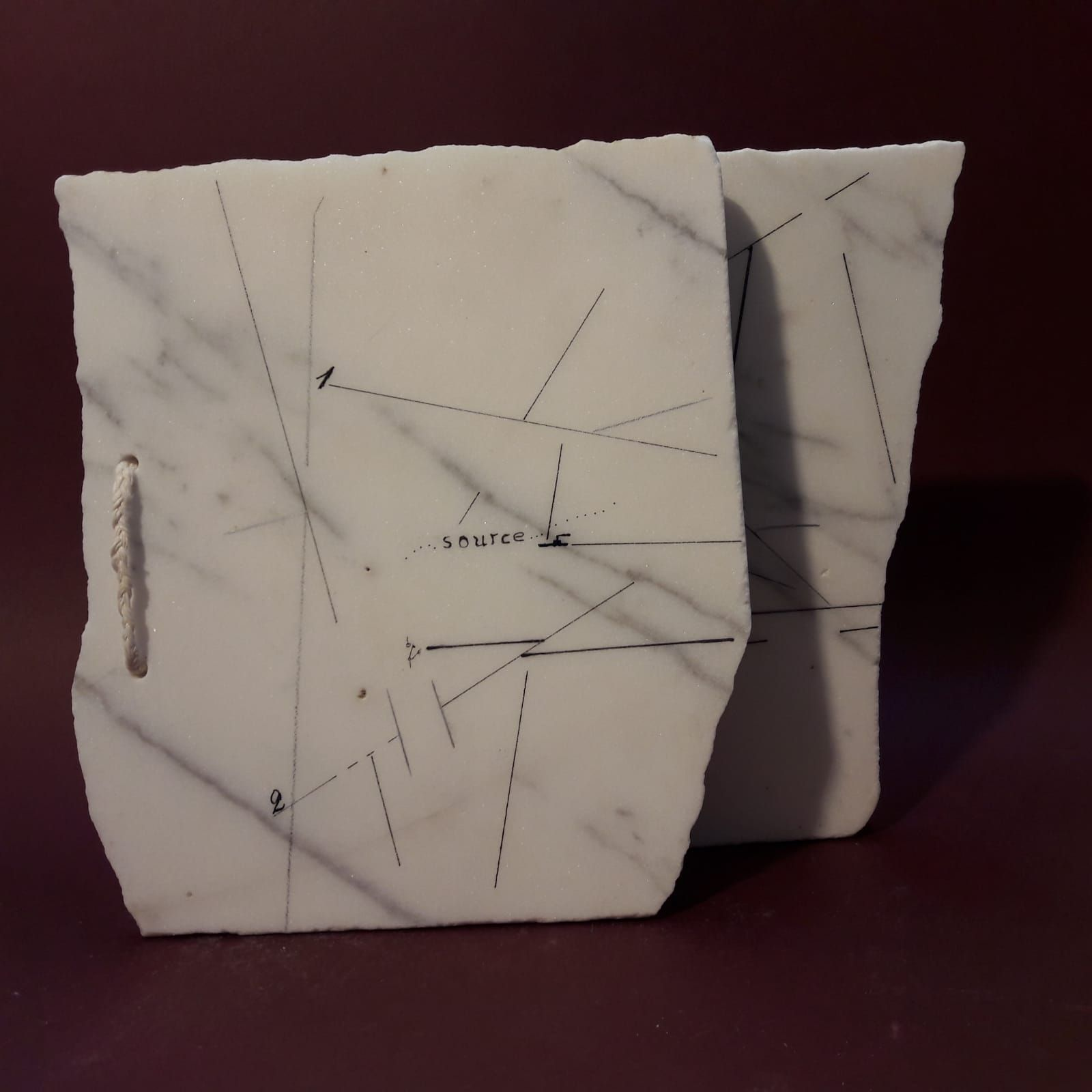 Marie Orensanz. Source, 2015. Drawing and paint on marble, 8 13/16 x 9 7/16 x 9/16 in. (22.5 x 24 x 1.5 cm.)