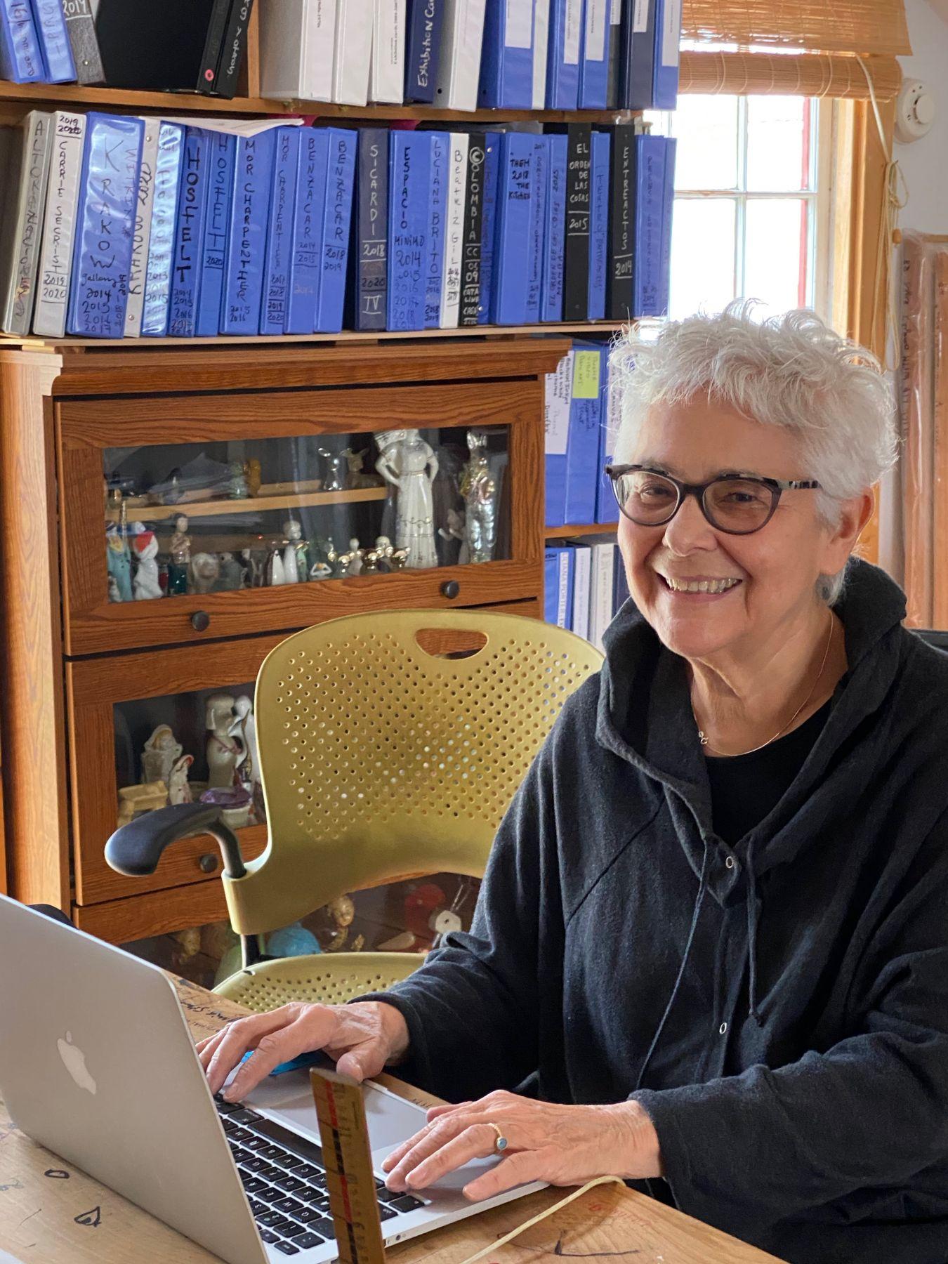Liliana Porter working in her studio in Rhinebeck, March 2020.