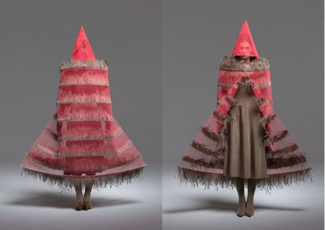 Maria Fernanda Cardoso, Fluro Orange, 2006-2008. Fiberglass net, emu feathers, glue, metal and polyester fabric, Variable dimensions.