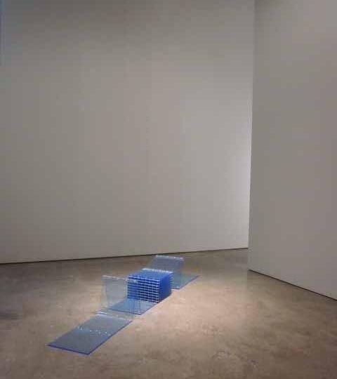 "Marta Chilindron, Cube, 2009, Fluorescent Blue Acrylic, 12"" x 12"" x 12""  /  4.75 x 4.75 x 4.75 cm"