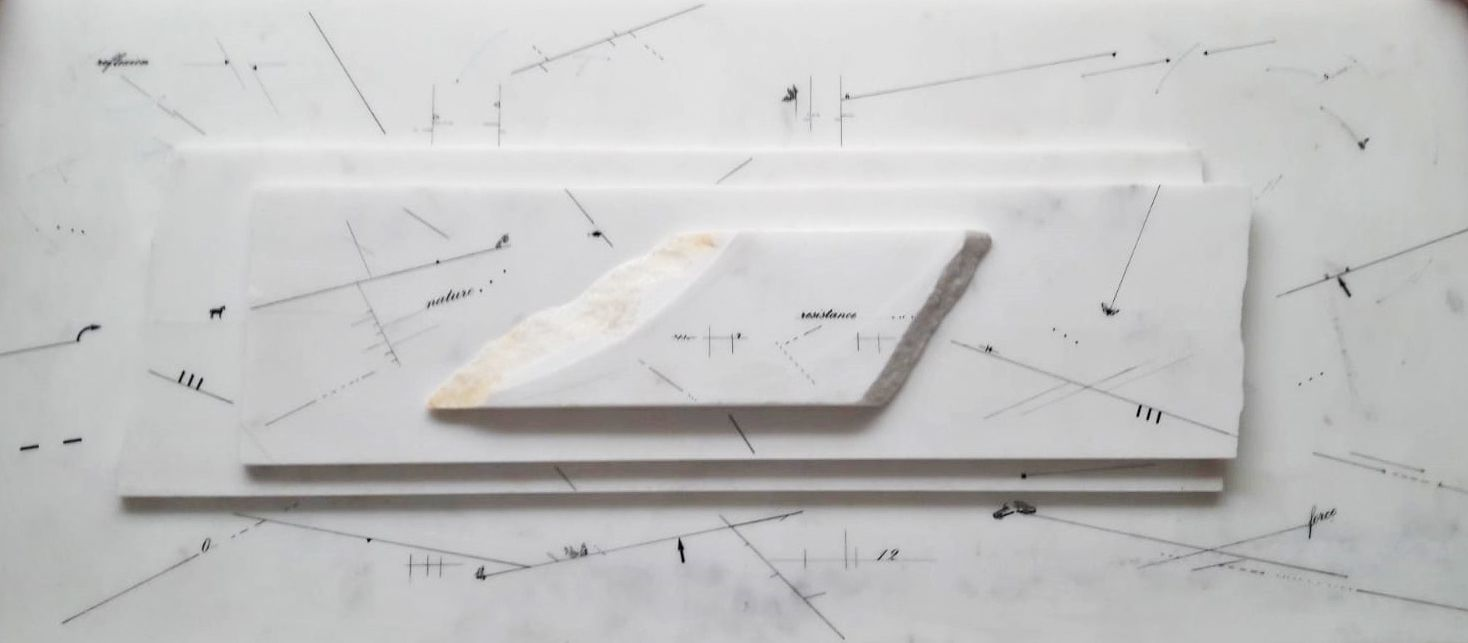 Marie Orensanz. Nature resistance, 2014. Drawing on marble, 14 9/16 x 33 1/16 x 1 15/16 in. (37 x 84 x 5 cm.)
