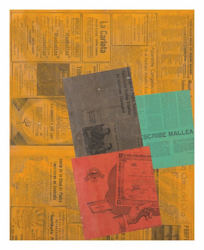 """Alejandro Otero, Crisis del oro [Gold Crisis] from the series """"Papeles coloreados"""" [Colored Papers], 1965. Collage on wood, 25 9/16 x 21 1/16 in. (65 x 53.5 cm.)"""