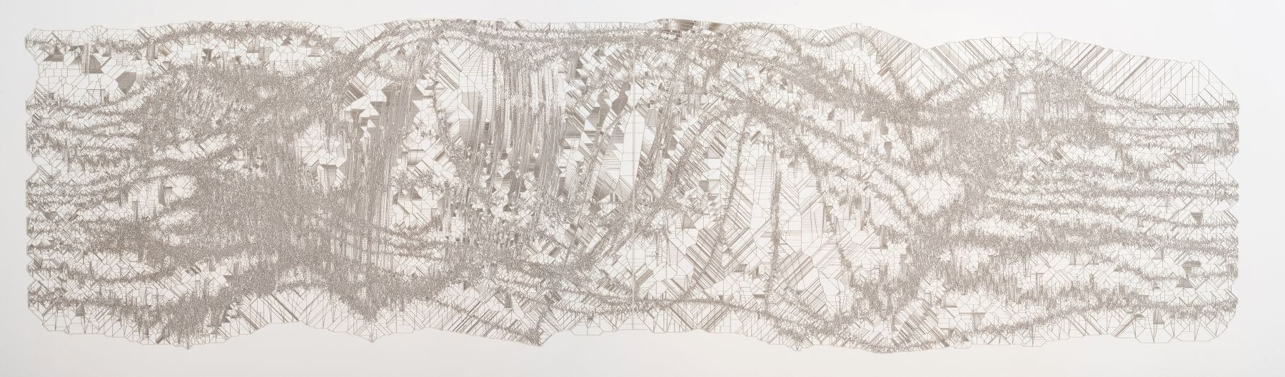 Gustavo Díaz.(b. 1969, Argentina).Observando dentro de la línea, en algún nivel existe un patrón. Prigogine mira..., from the series Acumulación de autoligaduras. [AA2], 2018.Cut out paper.22 5/16 x 67 31/32 in. (56.7 x 172.7 cm.)