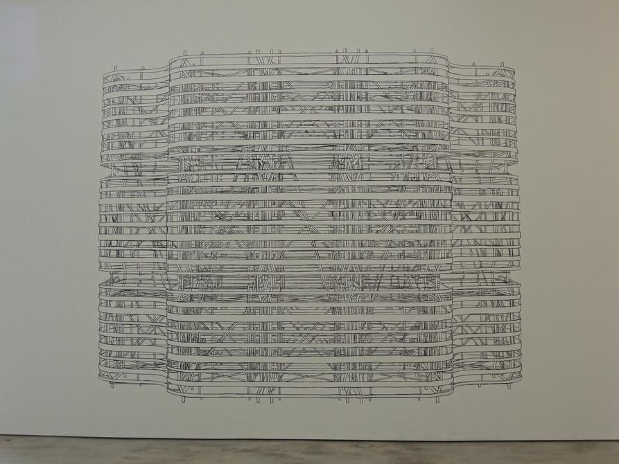 Pablo Siquier, 1301, 2013. Charcoal drawing on wall, Variable size