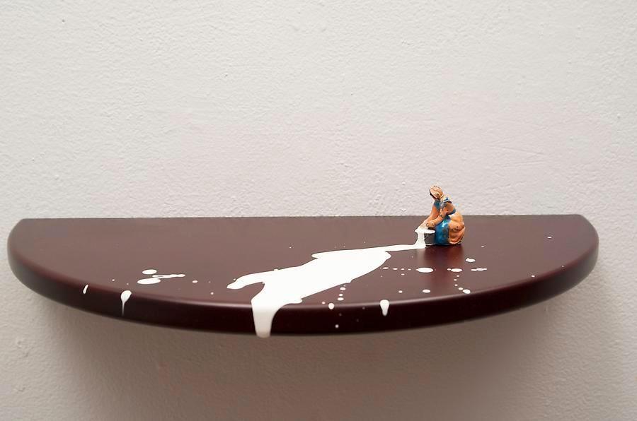 Liliana Porter, Lavandera, 2014. Acrylic and assemblage on wooden shelf, 3 in. x 16 in. x 8 in.