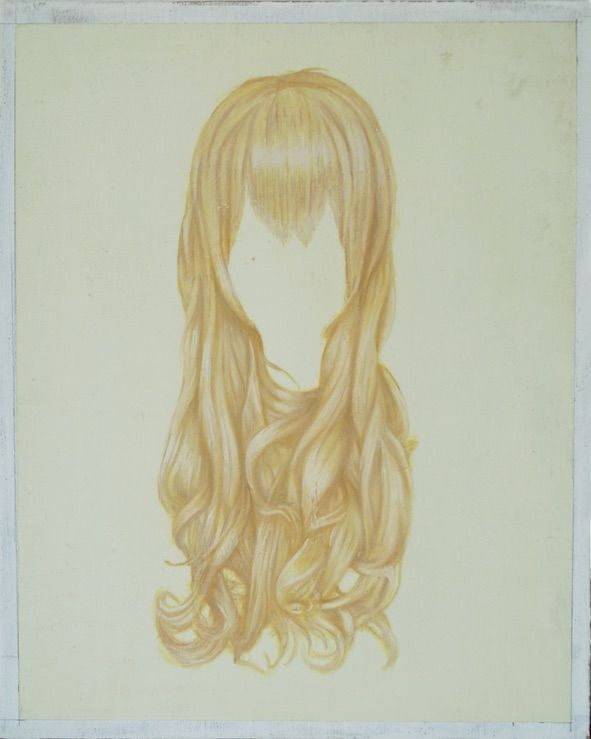 Melanie Smith.(b. 1965, England, lives in Mexico).Wig 5, 2015.Oil on mahogany.14 5/8 x 11 3/4 in. (37 x 30 cm.)