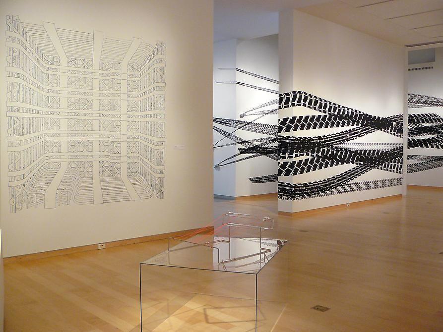 Pablo Siquier installation view, DePauw University exhibition, White Noise, 2009.