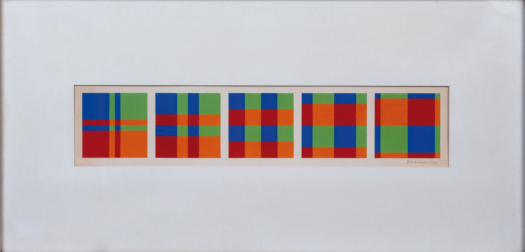 Francisco Sobrino,Untitled, 1959, Gouache on cardboard,4 1/2 x 21 in. (11.4 x 53.3 cm.)