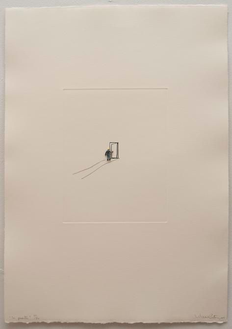 Liliana Porter. La Puerta,2004.Etching and metal figurine on paper,22.5 x15.25 in.