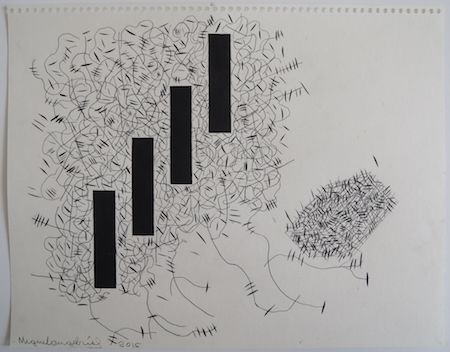 """Miguel Angel Rios(b. 1943, Argentina: lives and works in New York/Mexico City). Drawing from the series, """"Endless"""" Number 51. 2015. Ink on paper. 11 x 14 1/8 in. / 28 x 35.8 cm."""