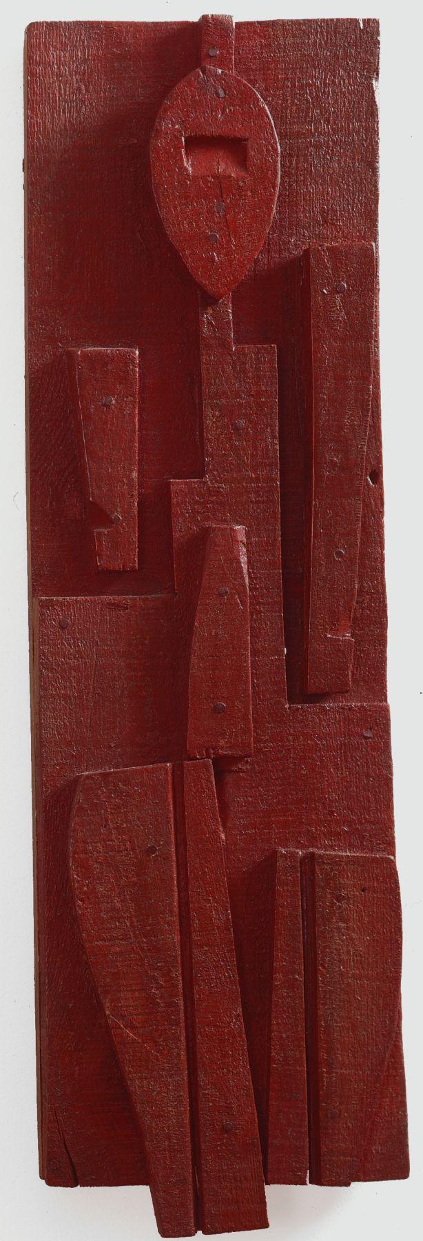 Joaquín Torres-Garcia,Tabla con hombre rojo, c. 1931,Oil and nails on wood,17 1/2 x 6 in. (44.5 x 15.2 cm.)