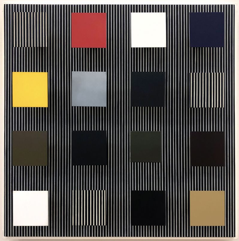 Jesús Rafael Soto, Untitled [to Paolo], 1981, Acrylic on wood and metal, 24 3/8 x 24 3/8 x 5 7/8 in. (62 x 62 x 15 cm.)