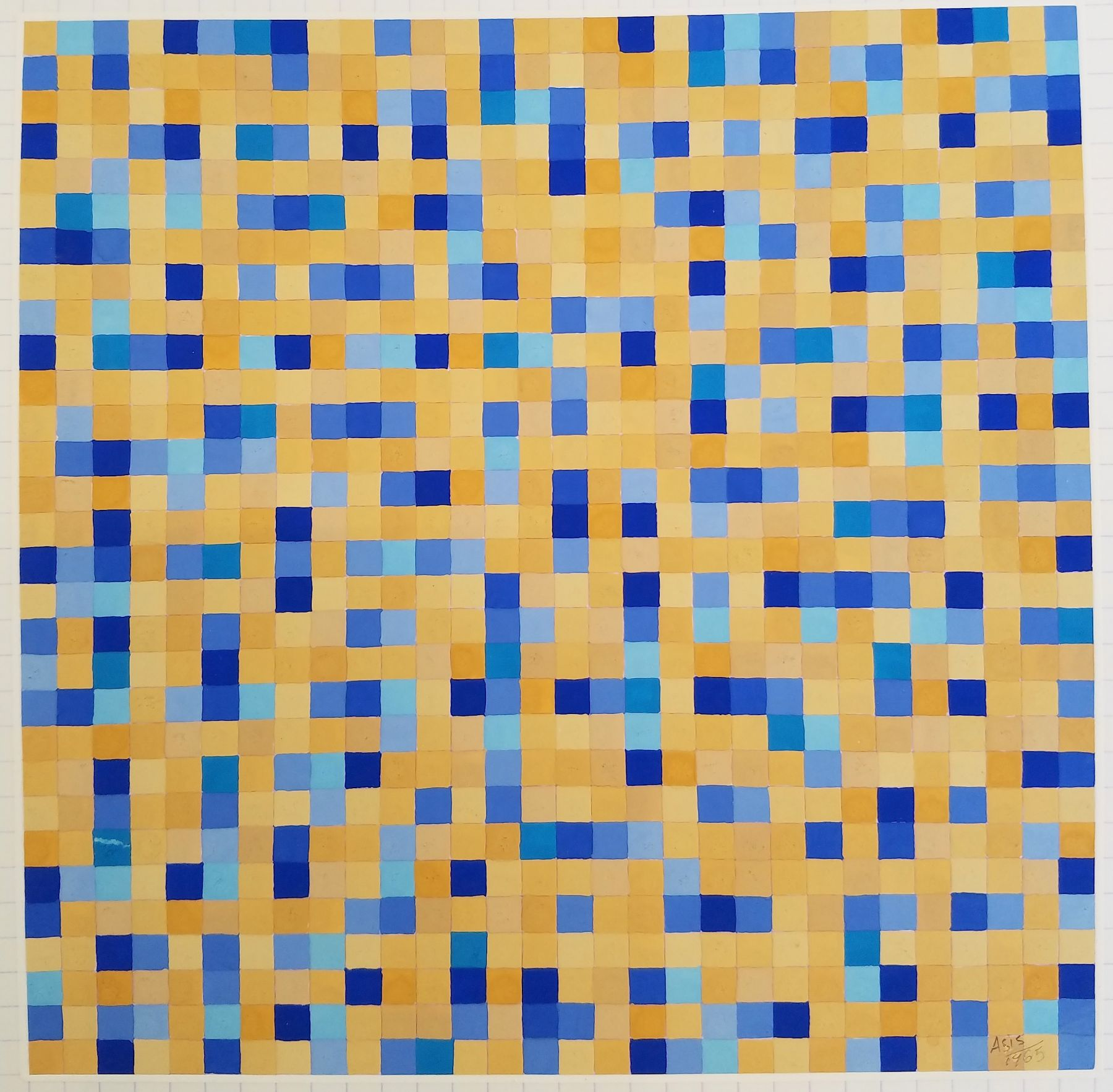 Antonio Asis,Untitled from the series Chromatisme Quadrillé Polychrome, 1965, Gouache on paper,11 3/4 x 8 3/8 in. (29.8 x 21.2 cm.)