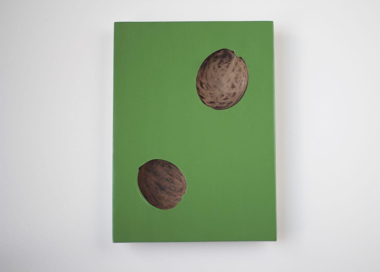 Green Portal, 2018. Lacquer, 9 1/8 x 7 1/8 x 1 1/4 in. (23.2 x 18.1 x 3.2 cm.),