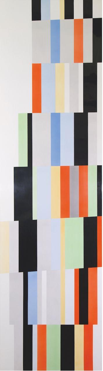 Alejandro Otero, Tablón 12, Upata 1927 [Plank 12 Upata 1927], 1987. Industrial enamel on wood, 78 11/16 x 21 5/8 in. (200 x 55 cm.)